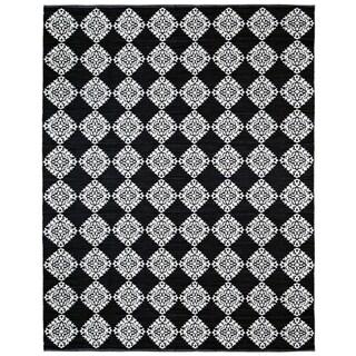 Black Medallion Cotton Jacquard (9'x12') Rug