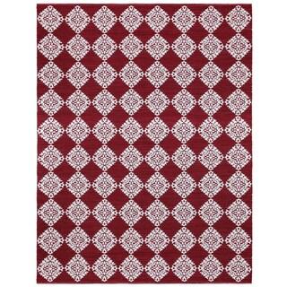 Red Medallion Cotton Jacquard (9'x12') Rug