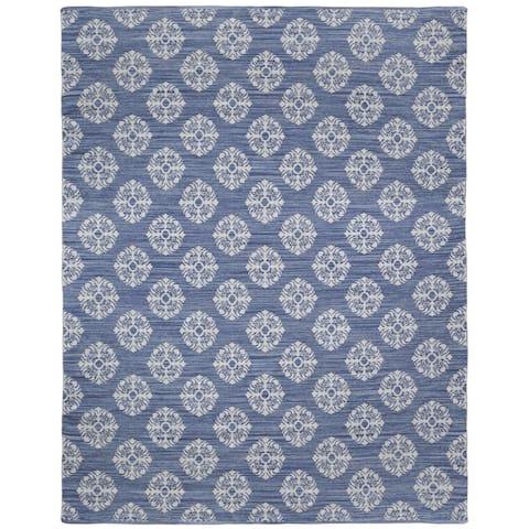 Blue Medallion Cotton Jacquard (10'x14') Rug - 10' x 14'