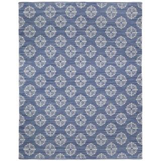 Blue Medallion Cotton Jacquard (9'x12') Rug - 9' x 12'