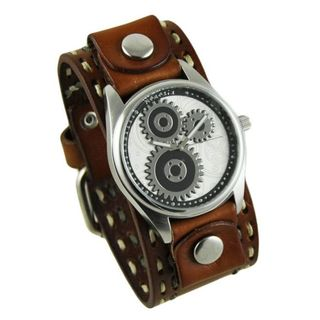 Nemesis Silver Geared Mens Watch with Brown Double Stitched Leather Cuff Band