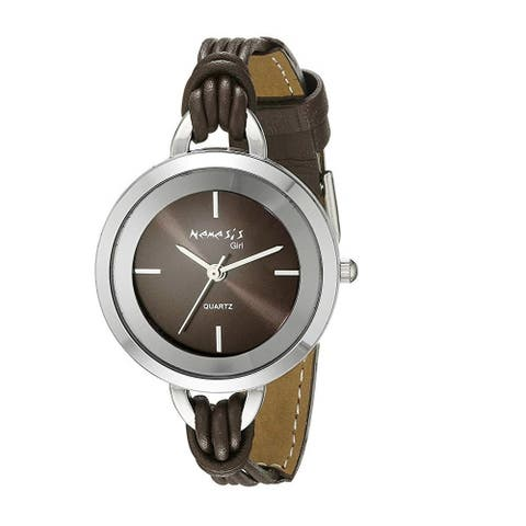 Nemesis Brown/Silver Delicate Essential Womens Watch with Brown Leather Band