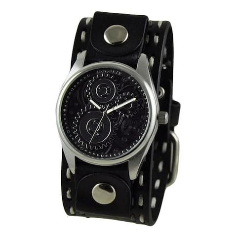 Nemesis Black Geared Mens Watch with Black Double Stitched Leather Cuff Band