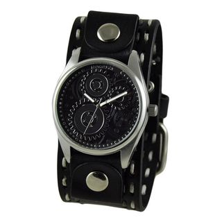 Nemesis Black/White Embossed Men's Watch with Black Double Stitched Leather Cuff Band