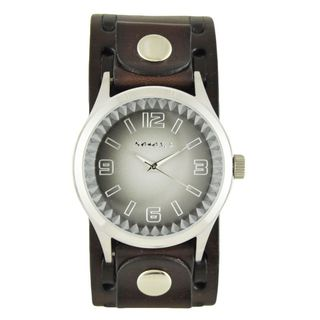 Nemesis Black/White 'Gradient Pointium' Mens Watch with Dark Brown Wide Weaving Leather Cuff Band