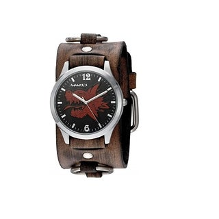 Nemesis Black/Red Dragon Head Mens Watch with Faded Dark Brown Ring Leather Cuff Band