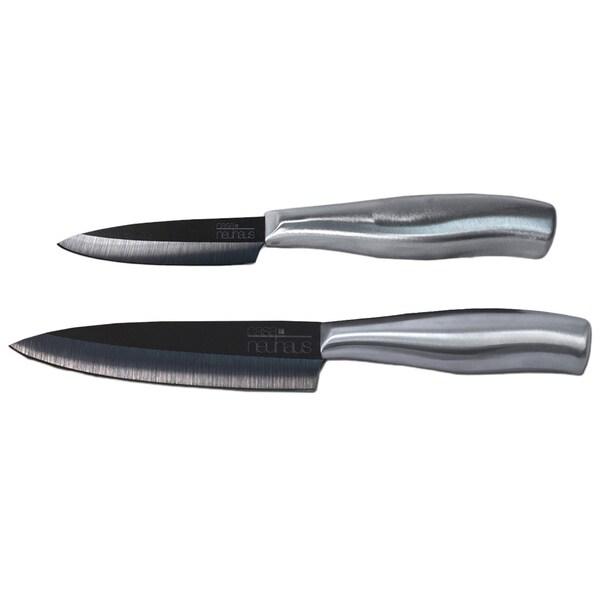 O Que E Paring Knife: Shop Casa Neuhaus 2-piece Sous Chef Black Ceramic Knife