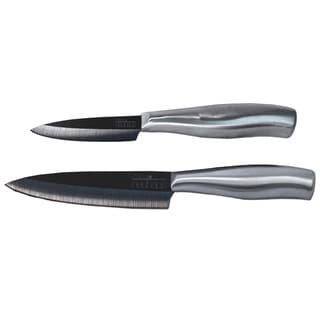Casa Neuhaus 2-piece Sous Chef Black Ceramic Knife Set with 3-inch Paring Knife/ 5-inch Utility Knife