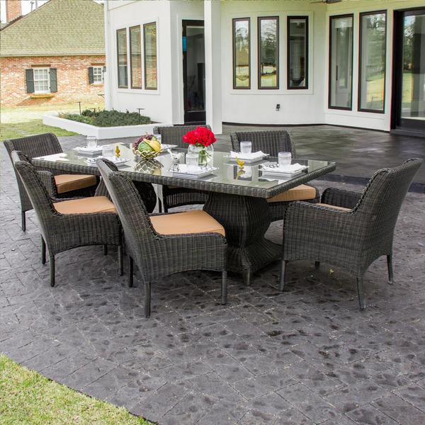 Bienville 6 Person Resin Wicker Patio Dining Set Free