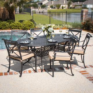 Carrolton 6-person Cast Aluminum Patio Dining Set with Oval Table