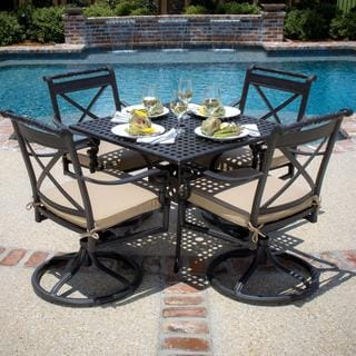 Carrolton 4-person Cast Aluminum Patio Dining Set with Swivel Rockers and Square Table