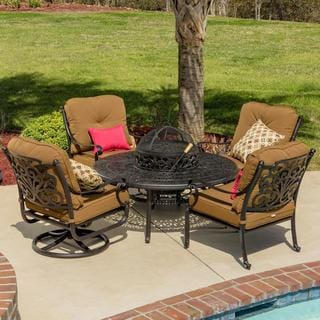Evangeline 4-person Cast Aluminum Patio Deep Seating with Bbq/ Fire Pit Table and Ice Bucket Insert