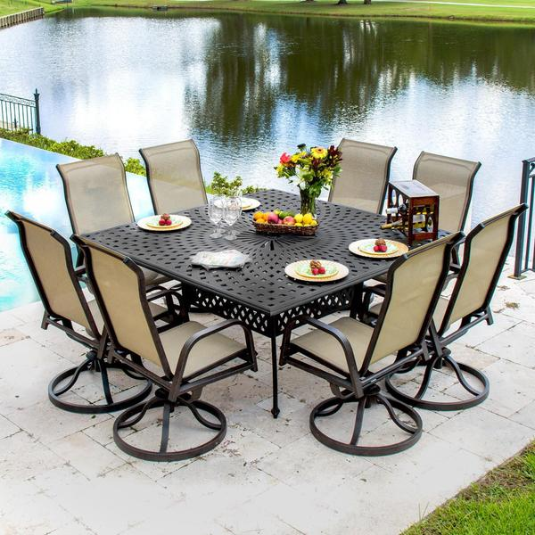 Lakeview Outdoor Designs Madison Bay 8-person Sling Patio Dining Set with  Cast Aluminum Table - Lakeview Outdoor Designs Madison Bay 8-person Sling Patio Dining