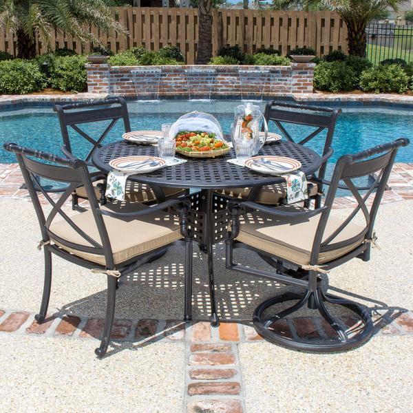 Breckenridge 4 Piece Patio Furniture Set Two Swivel: Carrolton 4-person Cast Aluminum Patio Dining Set With 2