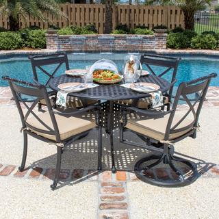 Carrolton 4-person Cast Aluminum Patio Dining Set with 2 Swivel Rockers and Round Table