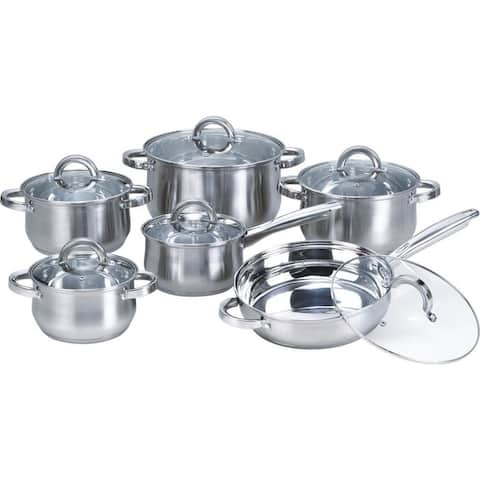 Heim Concept Silver 12-piece Stainless Steel Cookware Set with Glass Lid