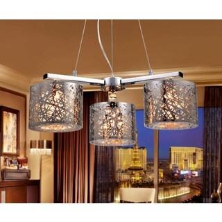 Abigail 3-light Chrome Triangular 22-inch Crystal Pendant Lamp