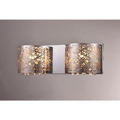 Aubrey 2-light Chrome 16-inch Crystal Wall Lamp