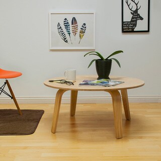 Mod Made Mid Century Modern Luna Round Plywood Coffee Table