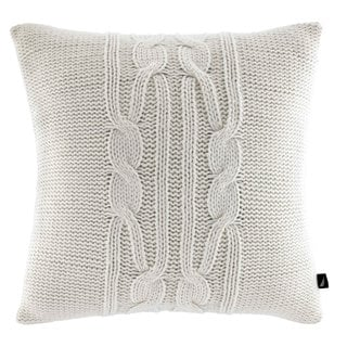 Nautica Seaward Ivory Cable Knit Decorative Pillow