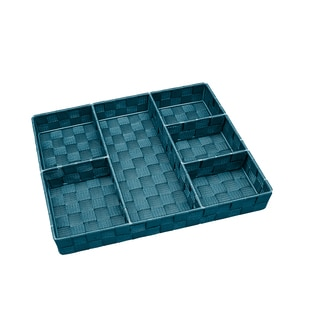Simplify 6-compartment Sapphire Woven Strap Drawer Organizer