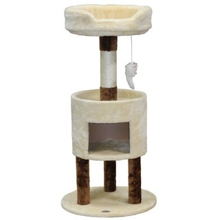 Go Pet Club Beige and Brown 41-inch Cat Tree Condo Furniture