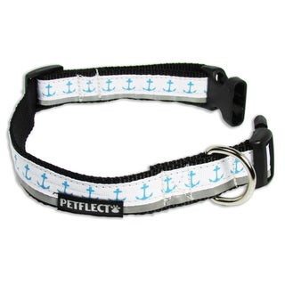 Petflect Blue Anchors Reflective Dog Collar