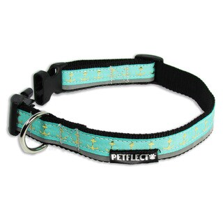 """Petflect Gold Anchors On Turquoise Reflective Dog Collar (Option: Small: 11""""-14"""" Neck)"""