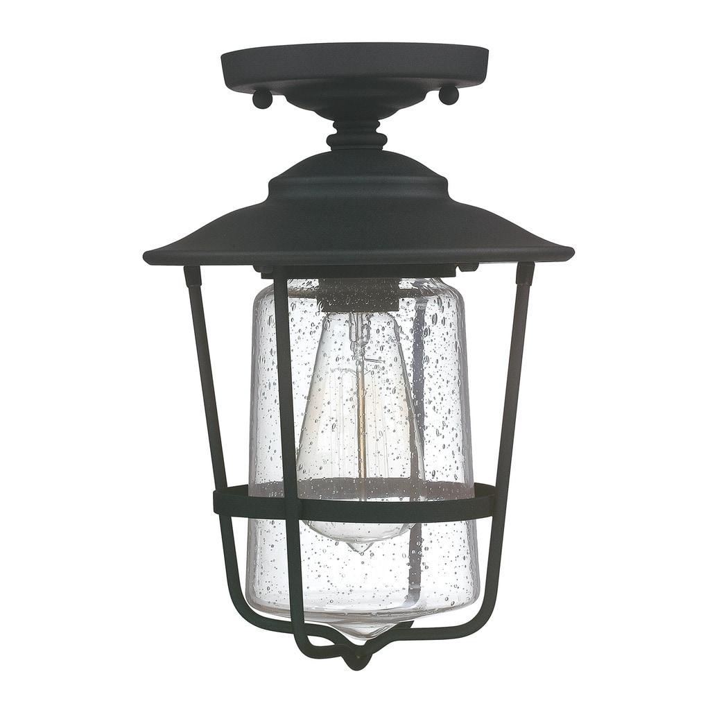 Shop Creekside 1 Light Black Outdoor Ceiling Flush Mount Overstock 10343986