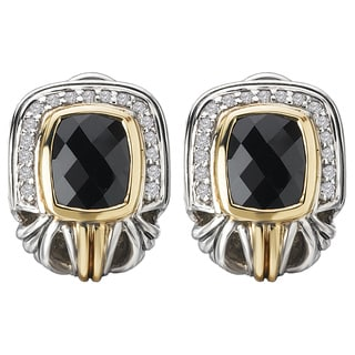 Avanti Sterling Silver and 18k Yellow Gold Black Onyx and White Sapphire Earrings