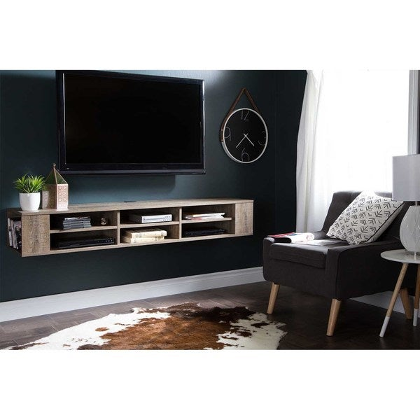 """South Shore City Life 66"""" Wide Wall Mounted Console. Opens flyout."""
