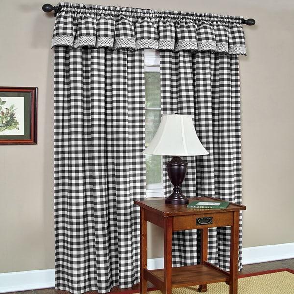 Classic Black Buffalo Check Window Panel Or Valance