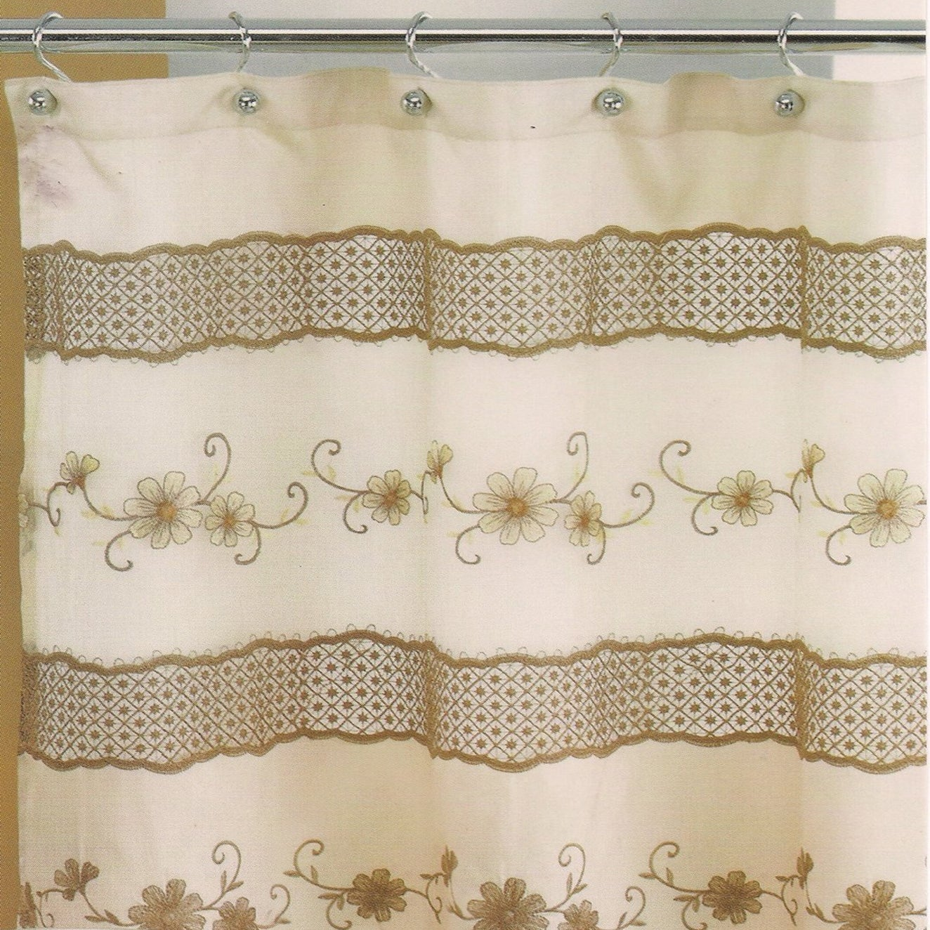Ornate Beige Floral Shower Curtain and Hooks or Separates...