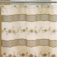 Ornate Beige Floral Shower Curtain and Hooks or Separates