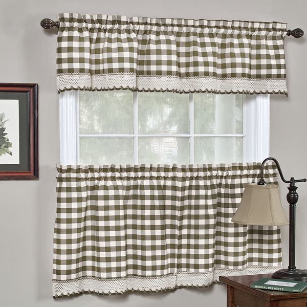 Shop Classic Buffalo Check Kitchen Curtains Free Shipping
