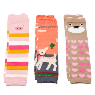 Crummy Bunny Baby Girls' Pink Leg Warmers (Set of 3)