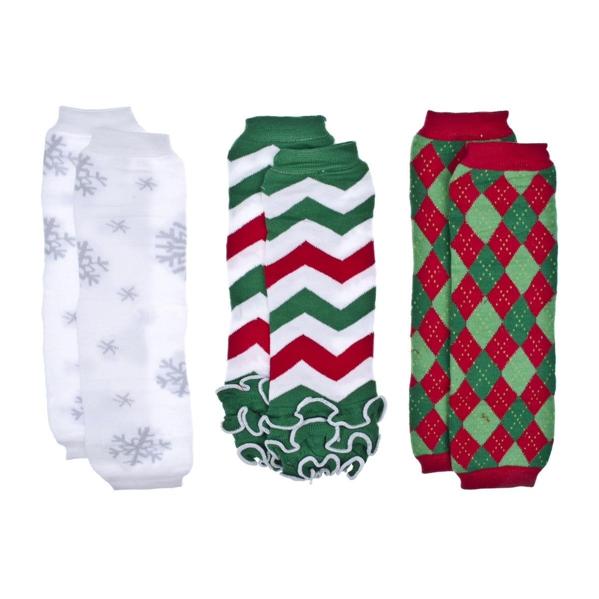 Crummy Bunny Christmas Chevron Baby Leg Warmers (Set of 3...