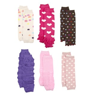 Crummy Bunny Girls' Pink and Purple Leg Warmers (Set of 6)