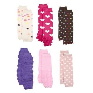 Crummy Bunny Girls' Pink and Purple Leg Warmers (Set of 6)