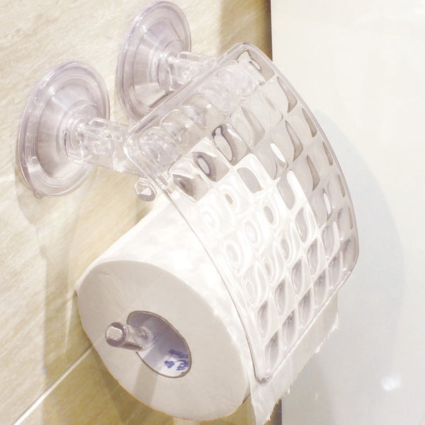 Push And Lock Long Lasting Clear Acrylic Suction Toilet Roll Dispenser