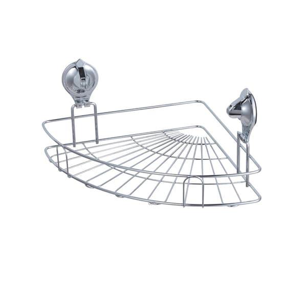 Easy Install Chrome Finished Damage Free Suction Grip Corner Bath Basket
