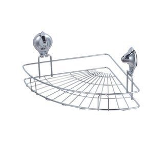 Easy Install Chrome Finished Damage Free Suction Grip Corner Bath Basket