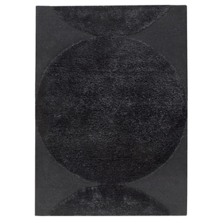M.A.Trading Indian Hand Tufted Wool Rondo Black Area Rug (5'6 x 7'10)