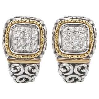 Avanti Palladium Silver and 18k Yellow Gold White Sapphire Pave Earrings