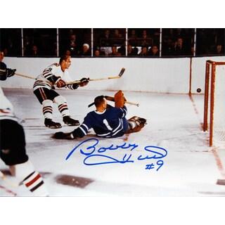 Hull Scores on Bower Signed 8X10 - Toronto Maple Leafs - Chicago Blackhawks