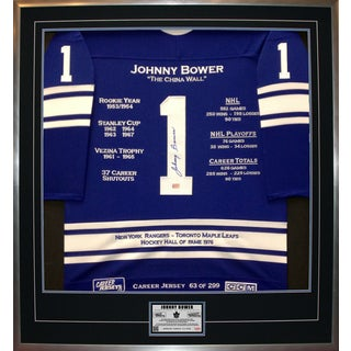 Johnny Bower Framed Career Jersey
