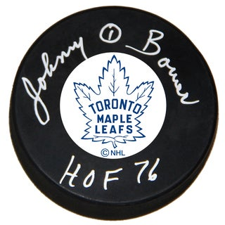 Johnny Bower Signed Hockey Puck - Toronto Maple Leafs