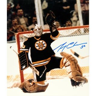 Gerry Cheevers Autographed 8X10 Photograph - Boston Bruins (Black)