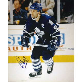 Doug Gilmour Signed 8X10 Photograph - Toronto Maple Leafs (Blue - Action)