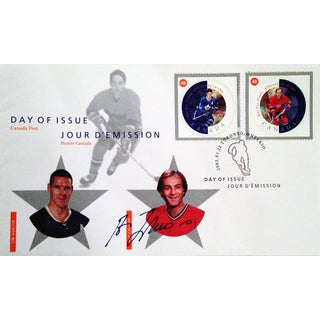 Day of Issue Stamps Horton and Lafleur - Autographed By Guy Lafleur